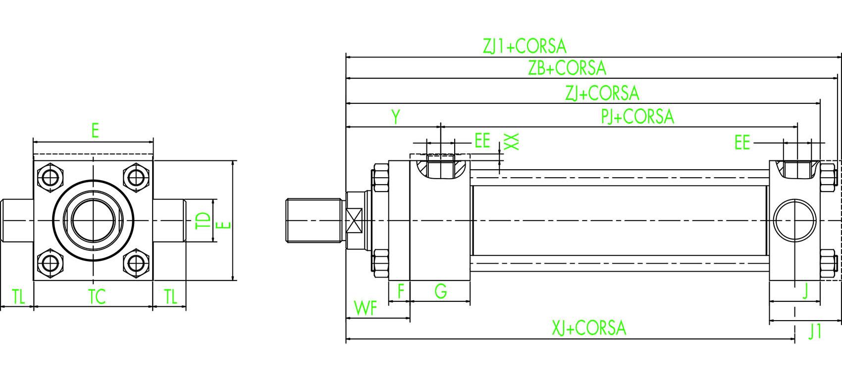 ISO MT2 Hinterer Schwenkzapfen